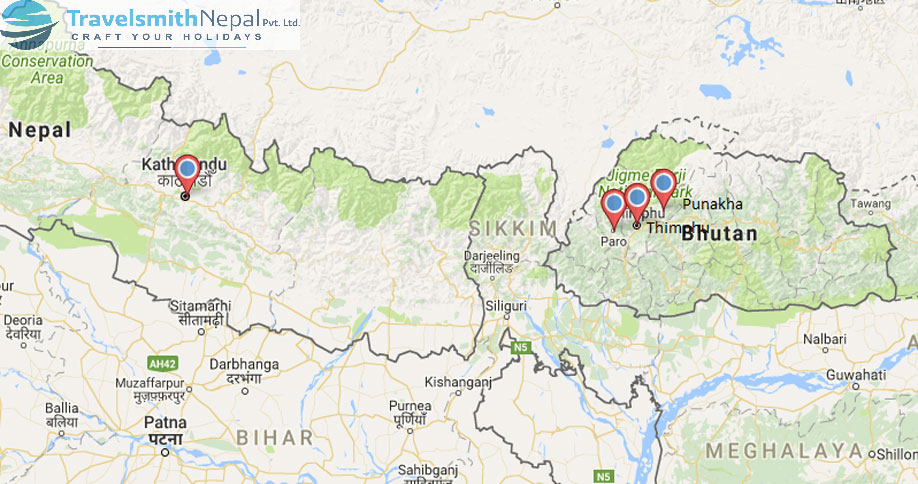 Nepal and Bhutan tour map